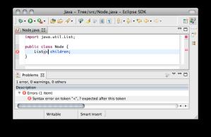 Eclipse JDT with error in problems view