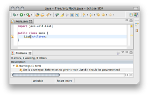Eclipse JDT with warning in the problems view